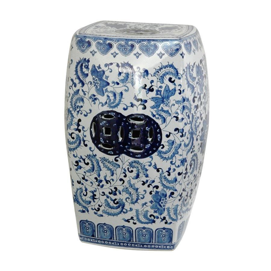 Oriental Furniture 18-in Blue Ceramic Garden Stool