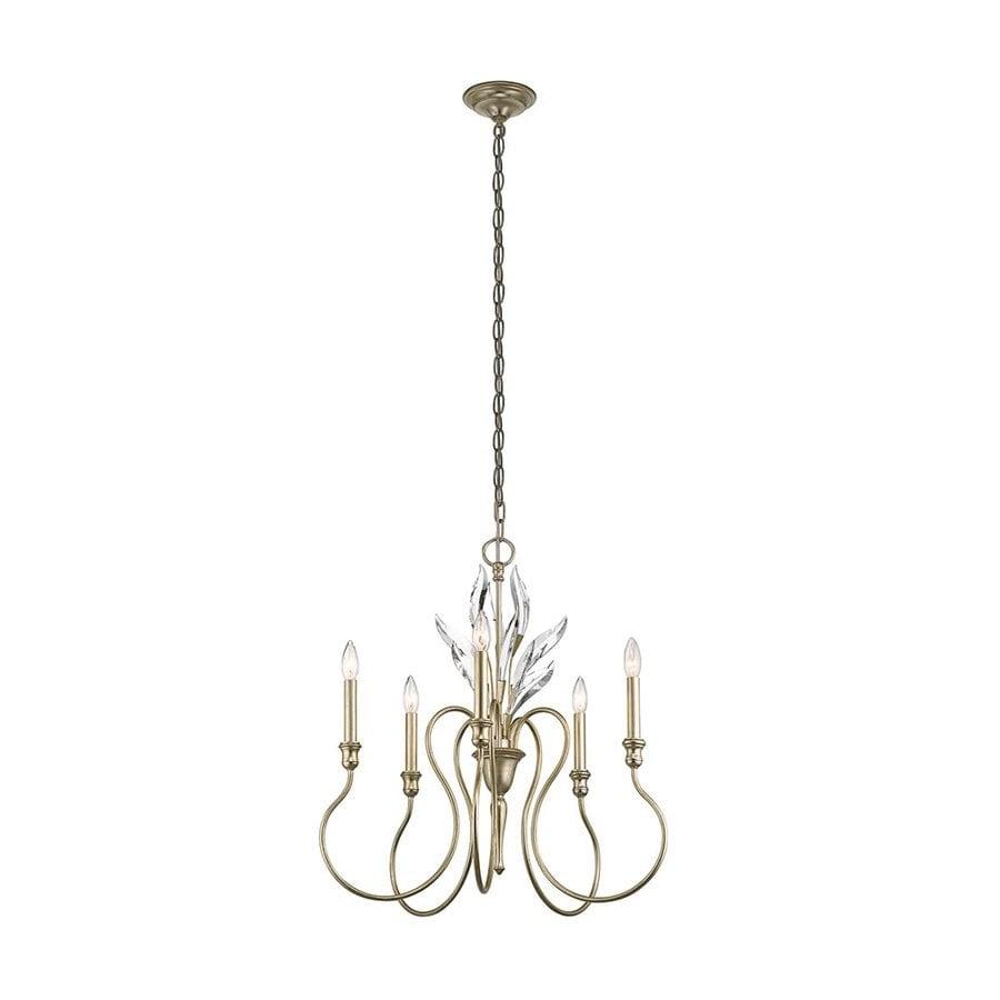 Kichler Lighting Grace 25-in 5-Light Sterling Gold Vintage Candle Chandelier