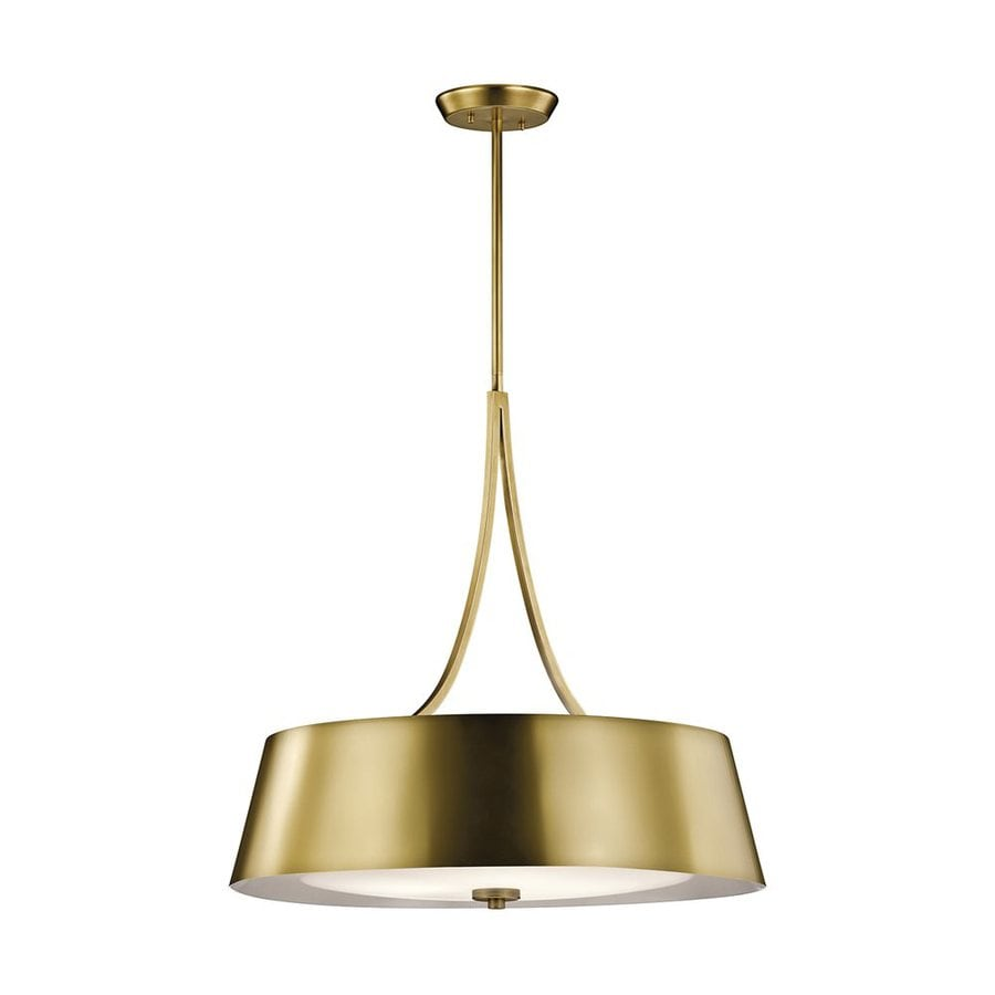 Kichler Lighting Maclain 24-in Natural Brass Hardwired Single Etched Glass Drum Pendant