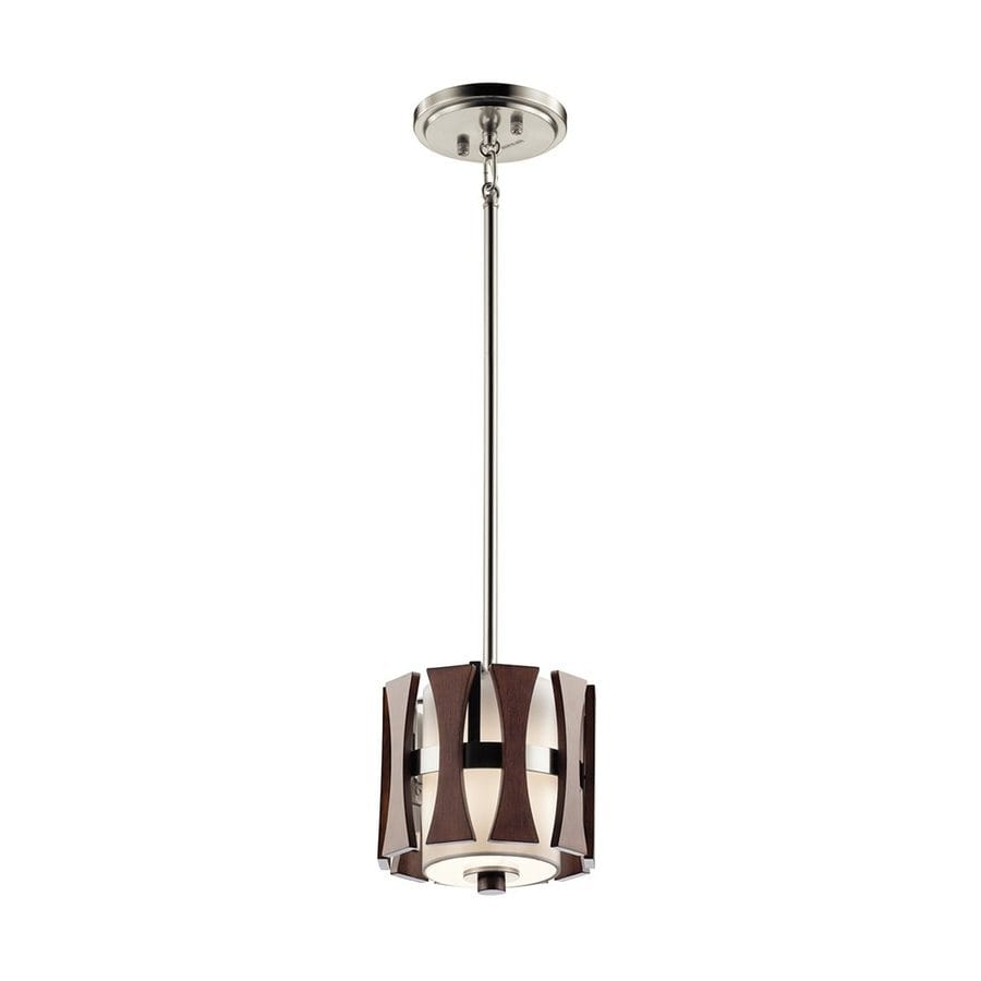 Kichler Lighting Cirus 8-in Auburn Stained Hardwired Mini Etched Glass Cylinder Pendant