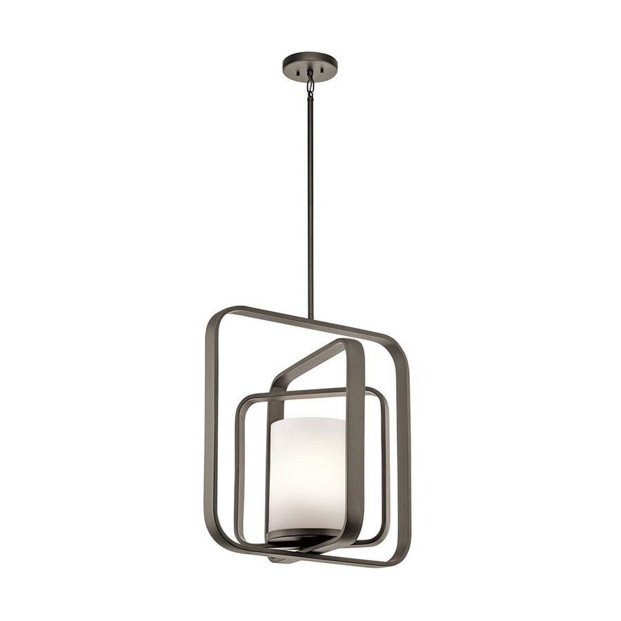Kichler Lighting City Loft 20.5-in Olde Bronze Hardwired Single Etched Glass Geometric Pendant