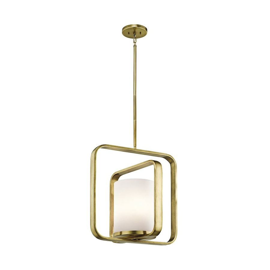 Kichler Lighting City Loft 16.25-in Natural Brass Hardwired Single Etched Glass Geometric Pendant