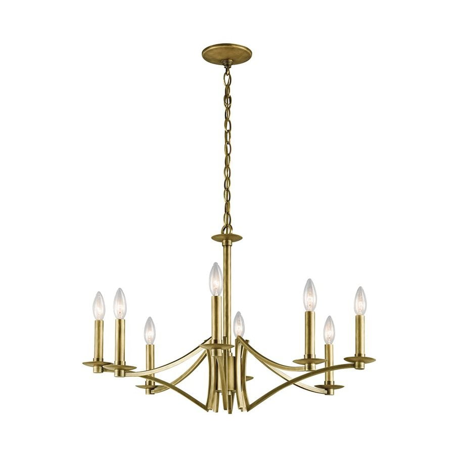 Kichler Lighting Grayson 28-in 8-Light Natural Brass Candle Chandelier