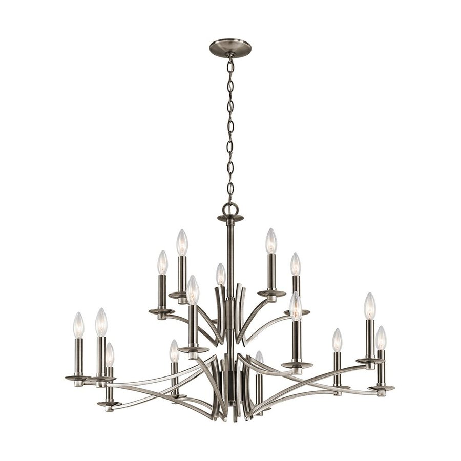 Kichler Lighting Grayson 36-in 15-Light Classic Pewter Tiered Chandelier