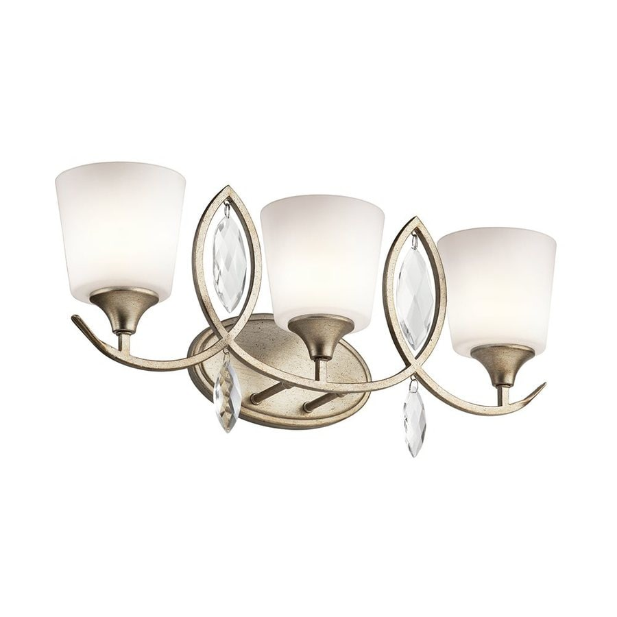 Shop Kichler Lighting 3 Light Casilda Sterling Gold Bathroom Vanity Light At