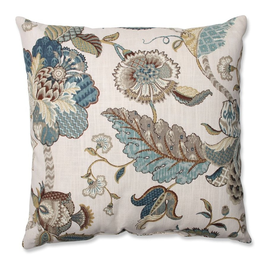 Pillow Perfect 18-in W x 18-in L Finders Keepers Blue Square Indoor Decorative Pillow