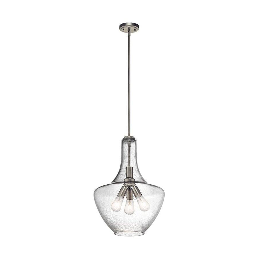 Kichler Lighting Everly 16-in Brushed Nickel Industrial Hardwired Single Seeded Glass Teardrop Pendant
