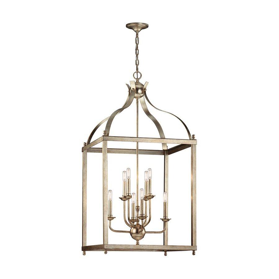 Kichler Lighting Larkin 24-in Sterling Gold Vintage Hardwired Single Cage Pendant