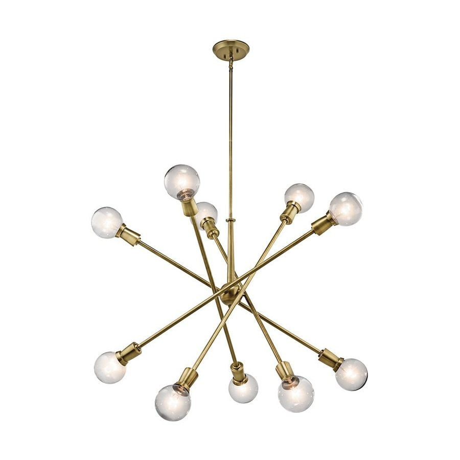 Kichler Lighting Armstrong 39-in 10-Light Natural Brass Industrial Abstract Chandelier
