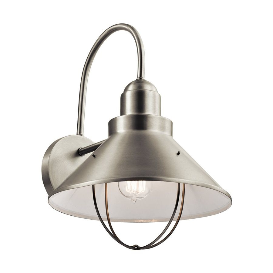 Shop Kichler Lighting Seaside 16 5 In H Brushed Nickel Outdoor Wall Light At