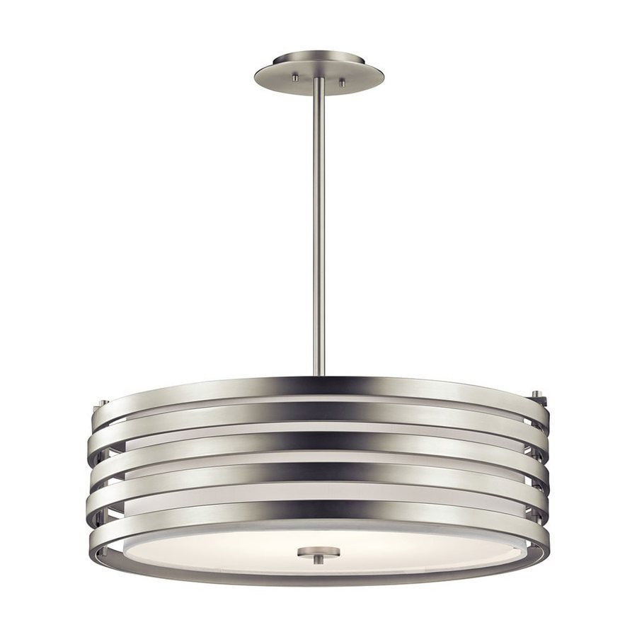 Kichler Lighting Roswell 24-in Brushed Nickel Industrial Hardwired Single Etched Glass Drum Pendant