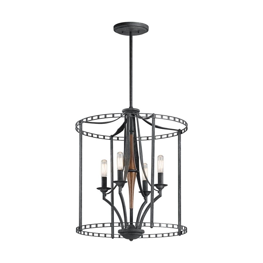 Kichler Lighting Clague 18-in 4-Light Distressed Black Wrought Iron Candle Chandelier