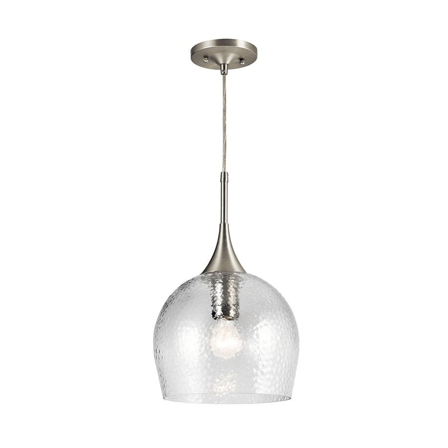 Kichler Lighting Sloane 10.5-in Brushed Nickel Industrial Hardwired Single Textured Glass Dome Pendant