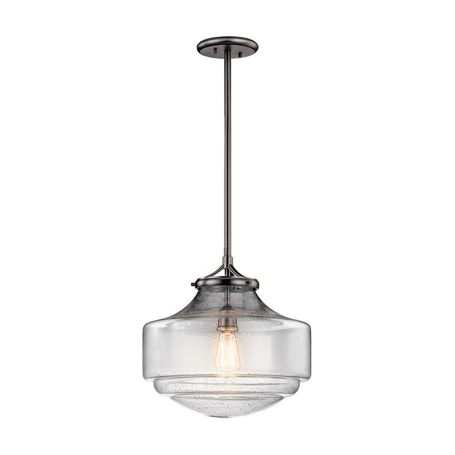 Kichler Lighting Keller 15-in Shadow Nickel Vintage Hardwired Single Seeded Glass Schoolhouse Pendant