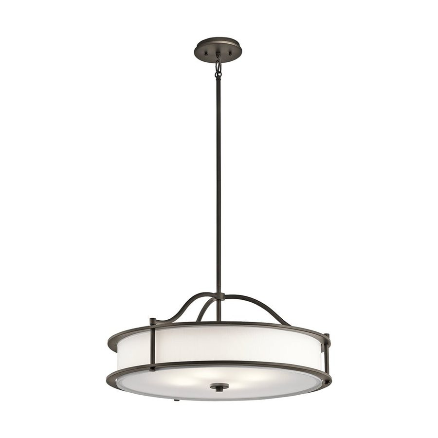 Kichler Lighting Emory 18-in Olde Bronze Hardwired Single Etched Glass Drum Pendant