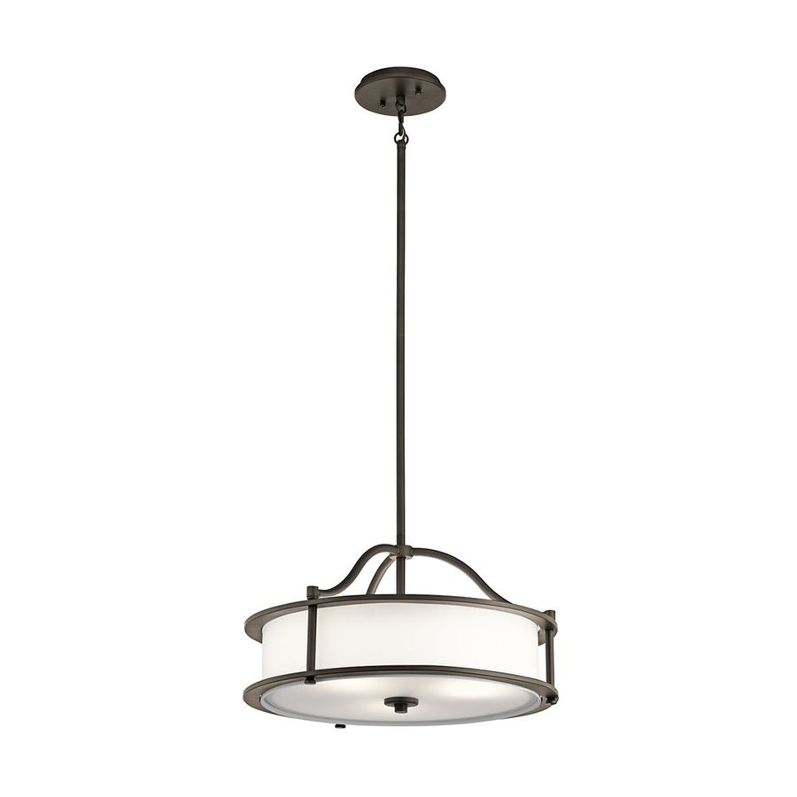 Kichler Lighting Emory 24-in Olde Bronze Hardwired Single Etched Glass Drum Pendant