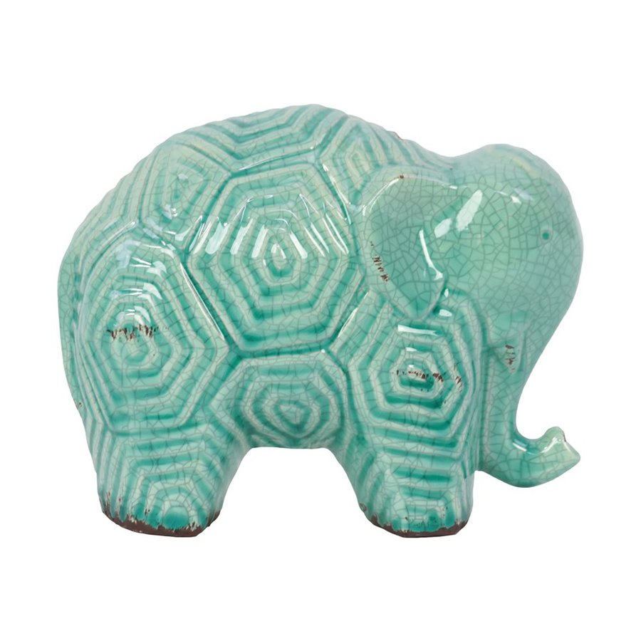 Urban Trends Stoneware Elephant Statue with Gloss Finish