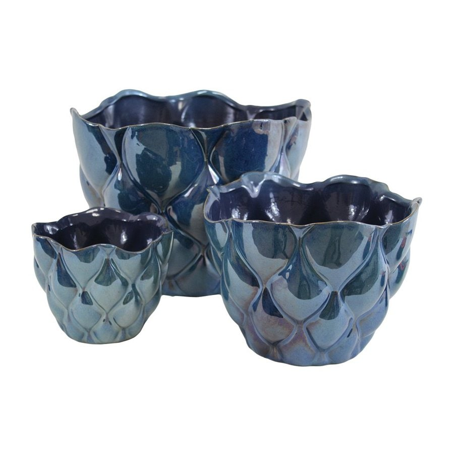 IMPORT COLLECTION 3-Pack Sapphire Ceramic Planters