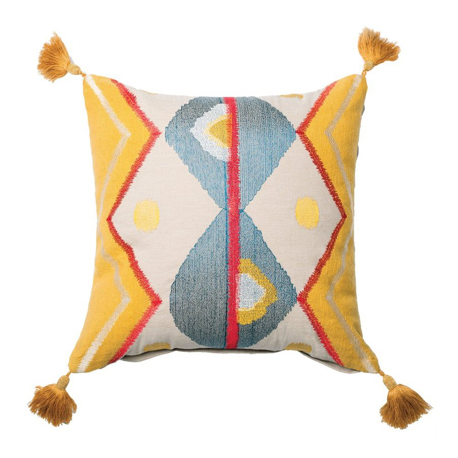 Furniture of America 18-in W x 18-in L Yellow Square Indoor Decorative Pillow