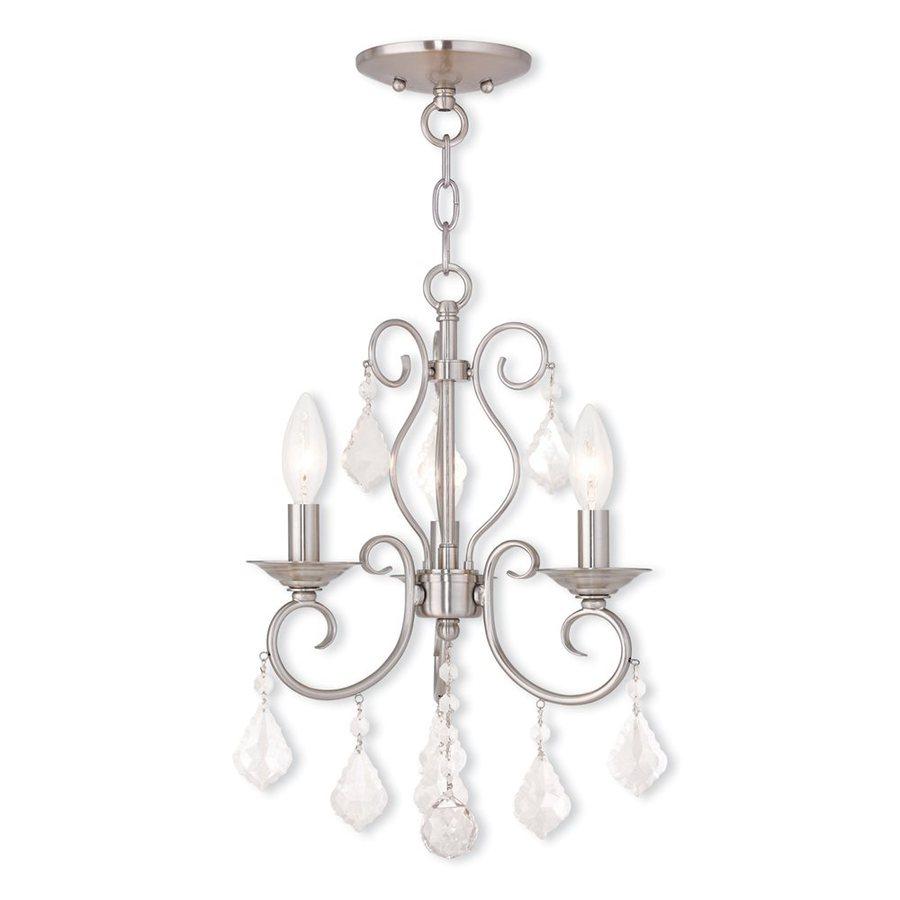 Livex Lighting Donatella 12-in 3-Light Brushed Nickel Vintage Candle Chandelier