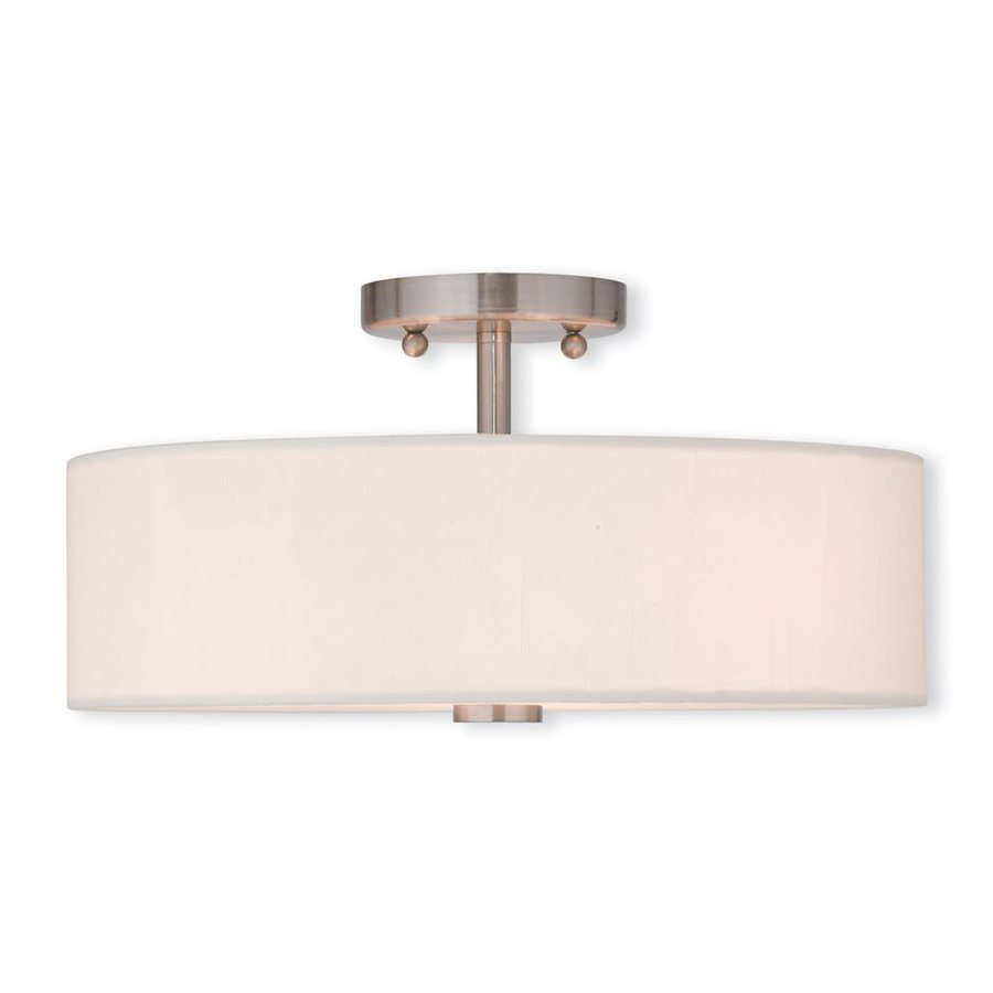 Livex Lighting Brighton 15-in W Brushed Nickel Fabric Semi-Flush Mount Light