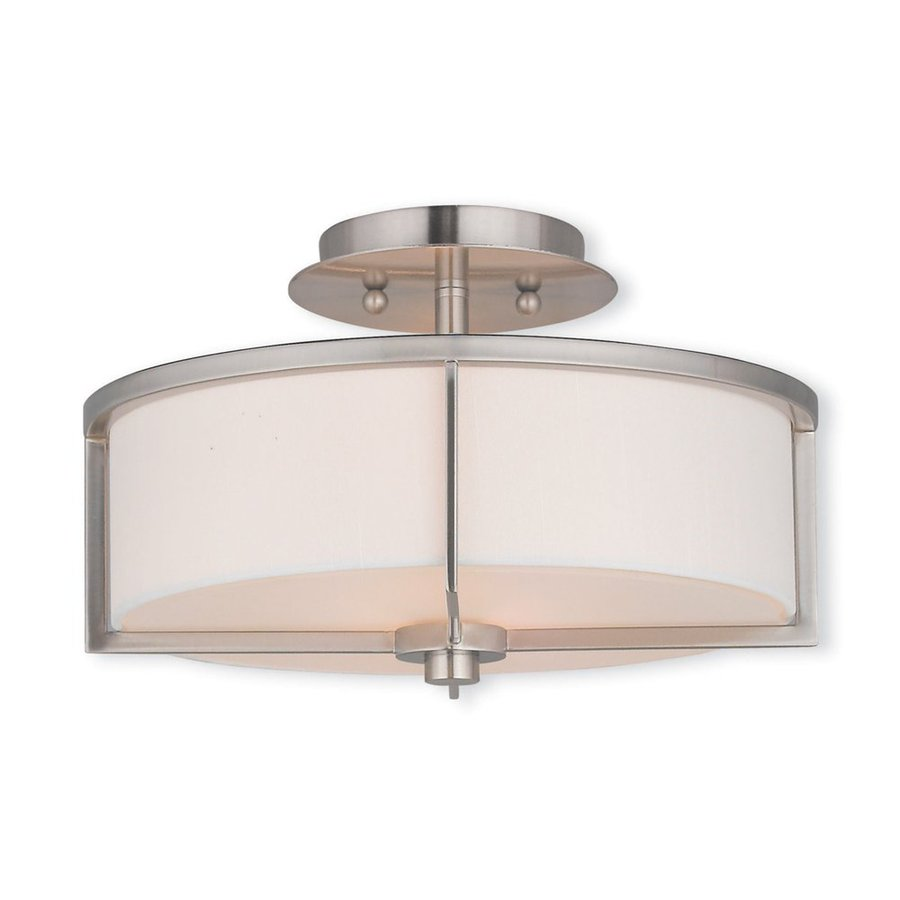 Livex Lighting Wesley 13-in W Brushed Nickel Fabric Semi-Flush Mount Light
