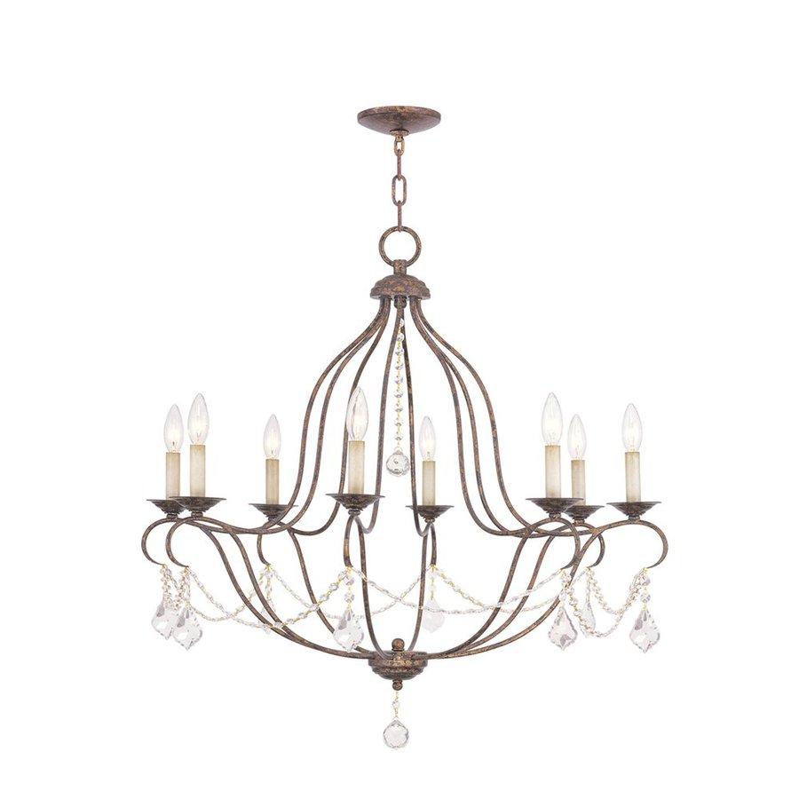 Livex Lighting Chesterfield 32-in 8-Light Venetian Golden Bronze Vintage Candle Chandelier