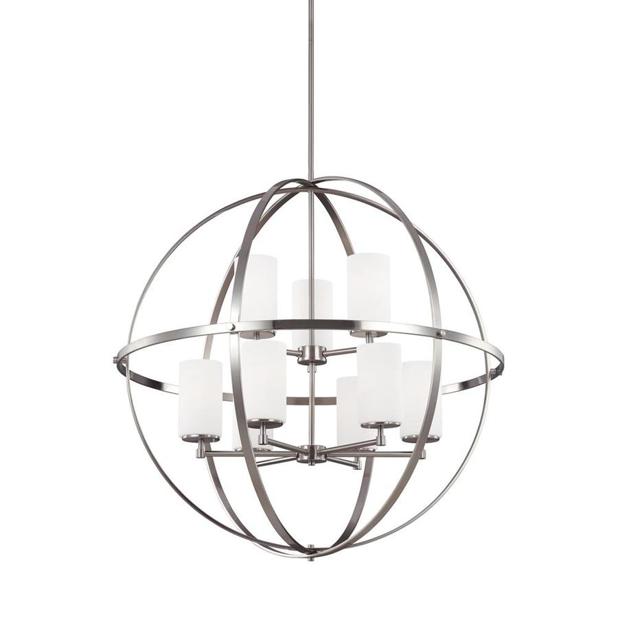 Sea Gull Lighting Alturas 32.5-in Brushed Nickel Single Etched Glass Orb Pendant