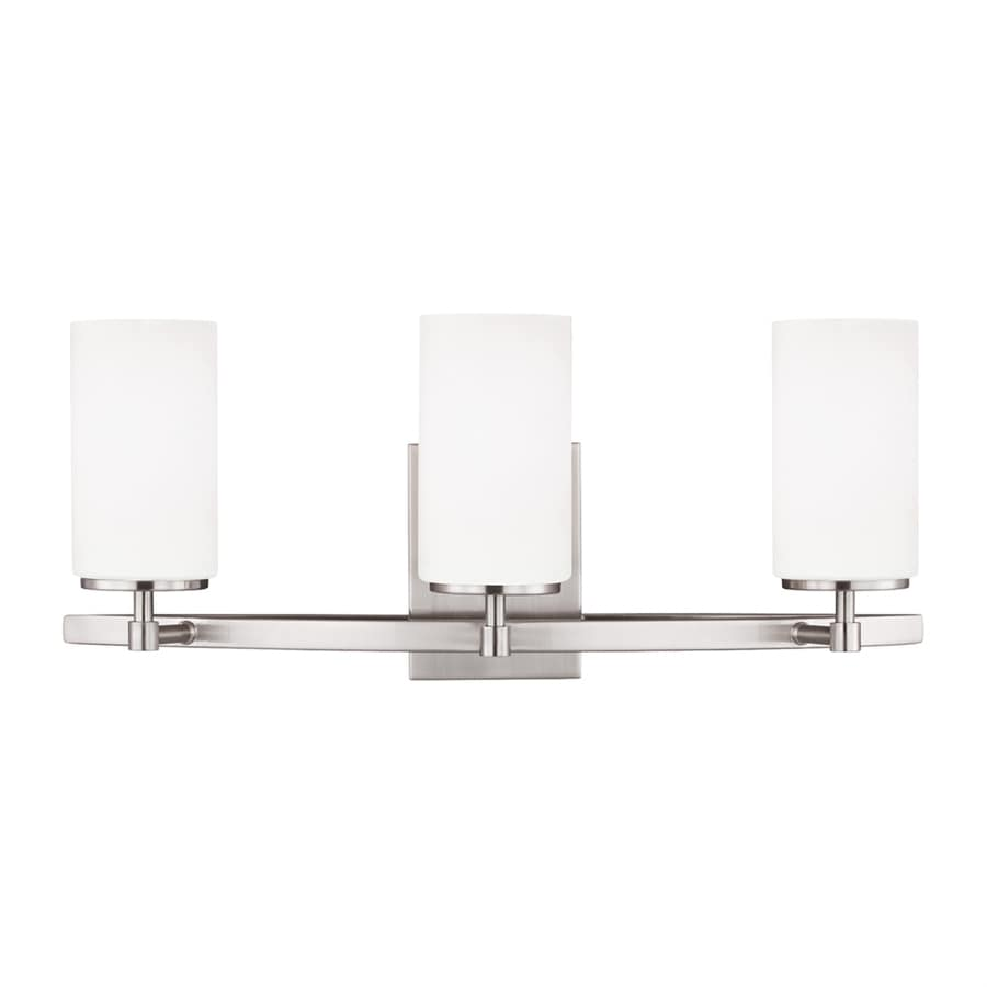 Sea Gull Lighting 44237 962 3 Light Brushed Nickel Bathroom Vanity Wall Fixture: Shop Sea Gull Lighting Alturas 3-Light Brushed Nickel Cylinder Vanity Light At Lowes.com