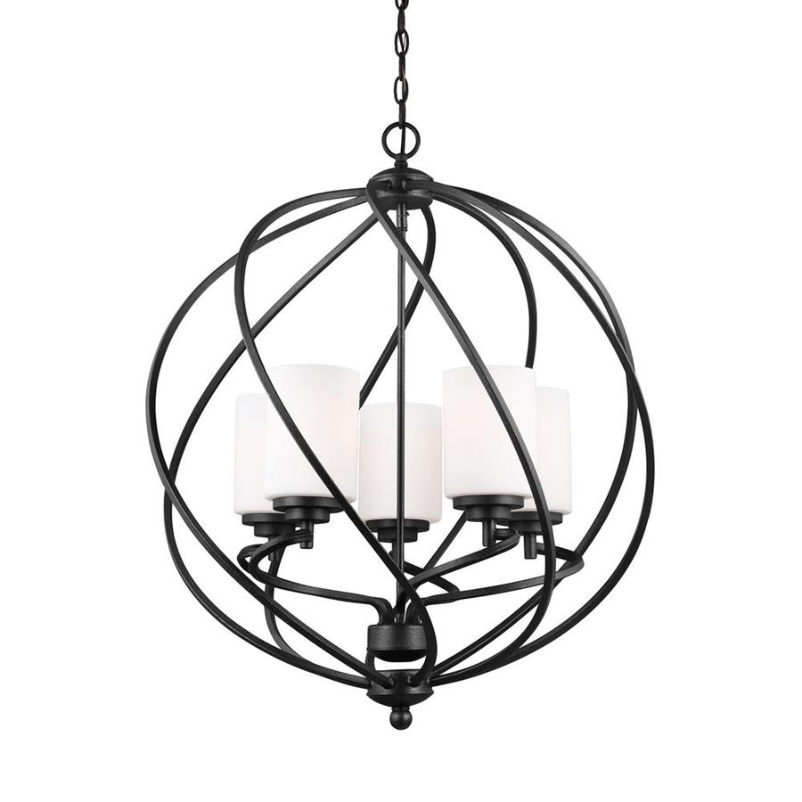Sea Gull Lighting Goliad 25-in Blacksmith Wrought Iron Single Etched Glass Orb Pendant