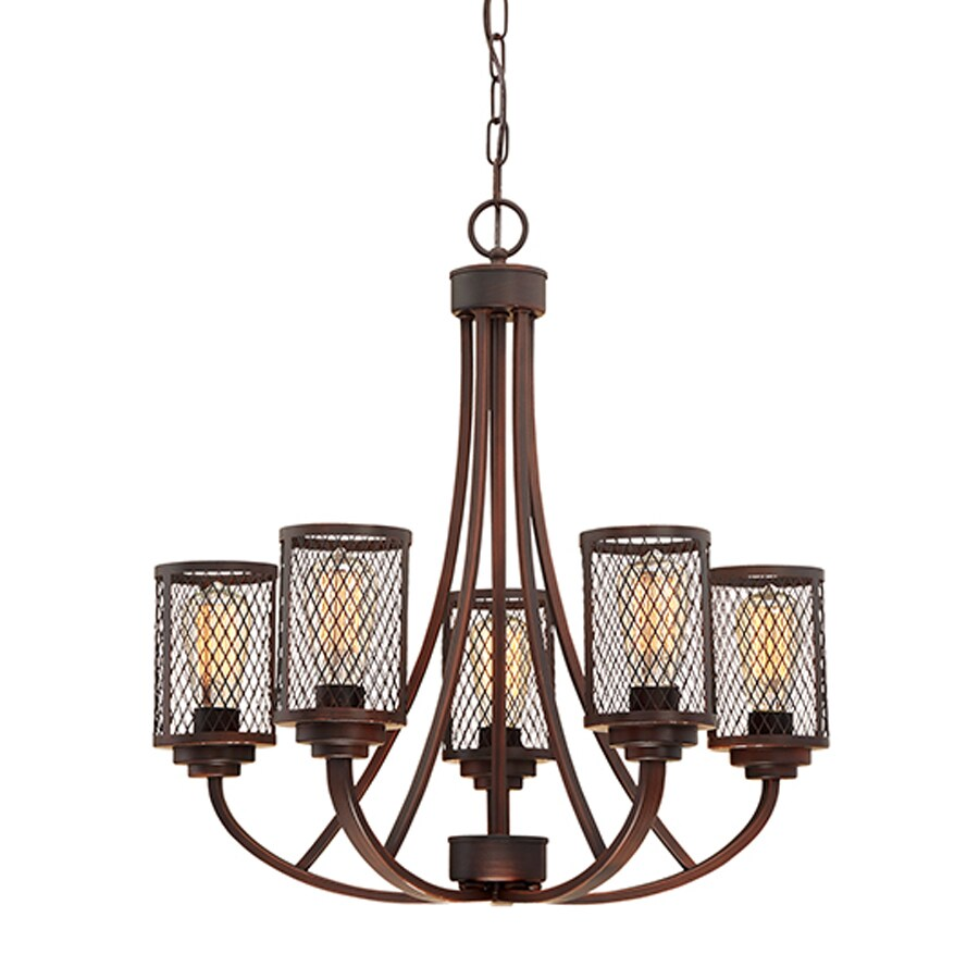 Millennium Lighting Akron 25.5-in 5-Light Rubbed Bronze Industrial Cage Chandelier