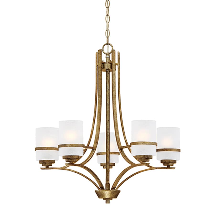 Millennium Lighting Benton 26-in 5-Light Vintage Gold Scavo Glass Shaded Chandelier