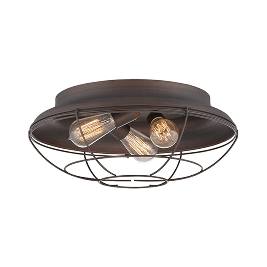 Millennium Lighting Neo-Industrial 17-in W Rubbed Bronze Ceiling Flush Mount Light