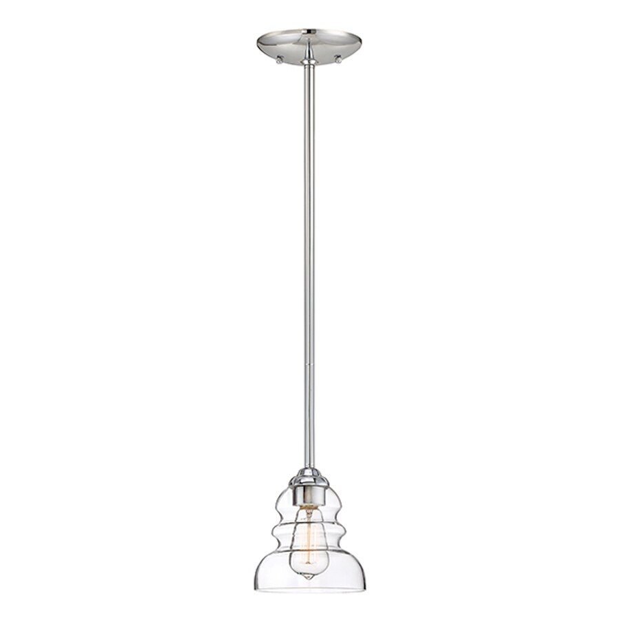 Millennium Lighting 6-in Chrome Industrial Mini Clear Glass Bell Pendant