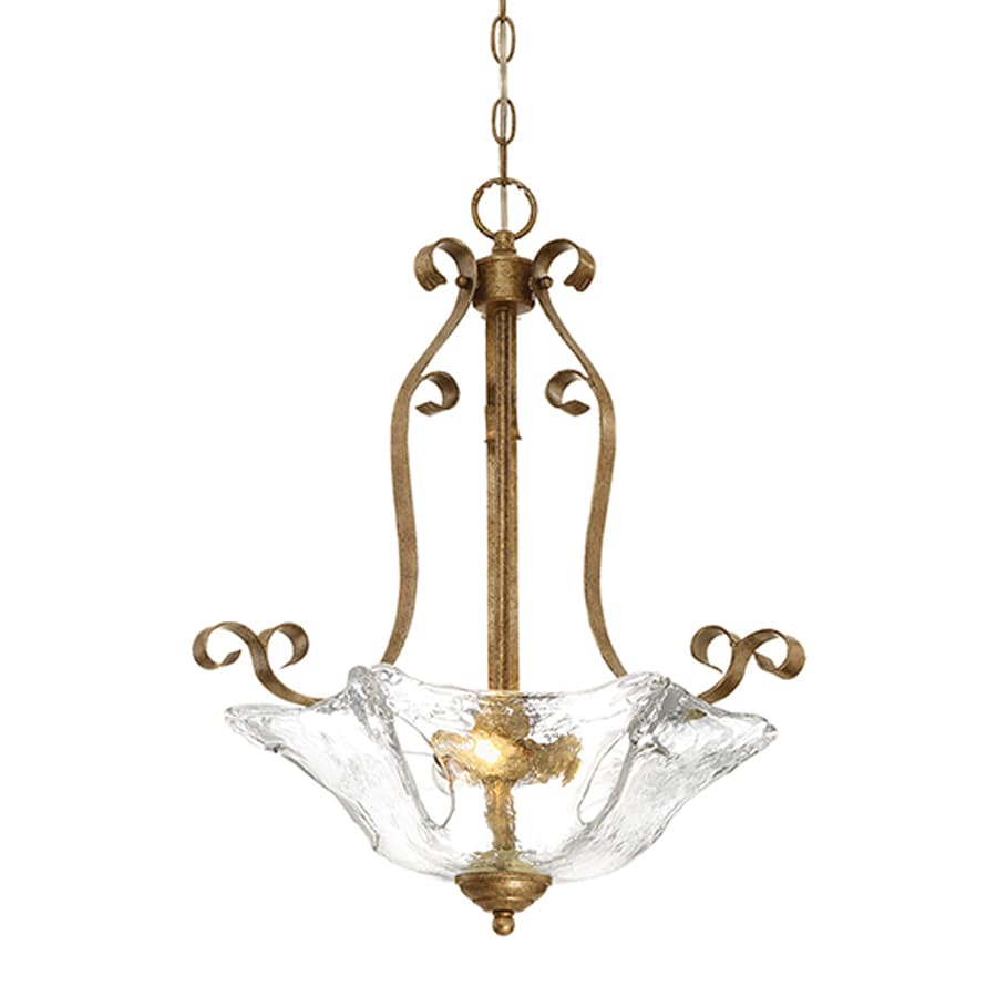 Millennium Lighting Chatsworth 19.5-in Vintage Gold Vintage Single Textured Glass Bowl Pendant