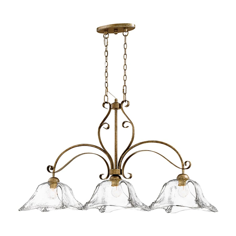 Millennium Lighting Chatsworth 45.5-in W 3-Light Vintage Gold Kitchen Island Light with Clear Shade