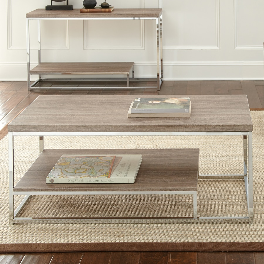 Driftwood Coffee Table With Rectangular Glass Top: Shop Steve Silver Company Lucia Light Driftwood Grey