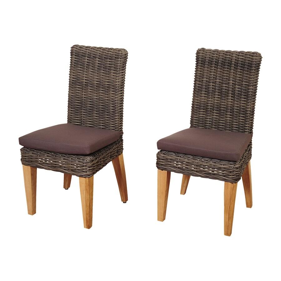 International Home Amazonia Teak 2-Count Wicker Patio Dining Chairs
