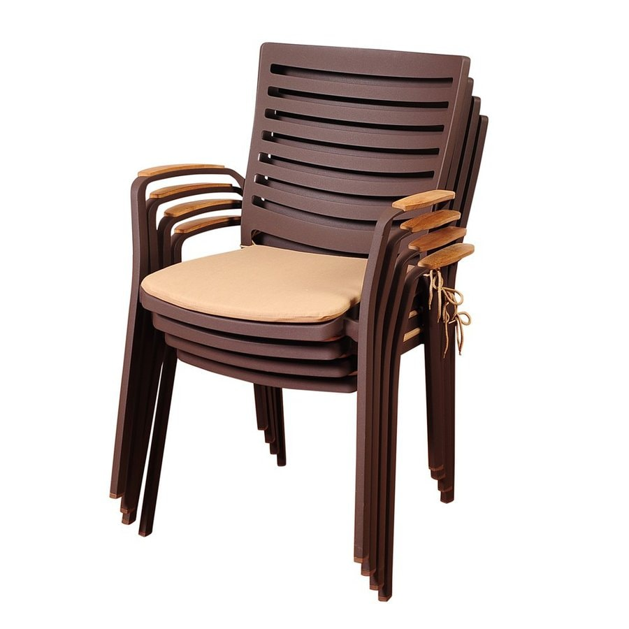International Home Amazonia Teak 4-Count Aluminum Stackable Patio Dining Chairs
