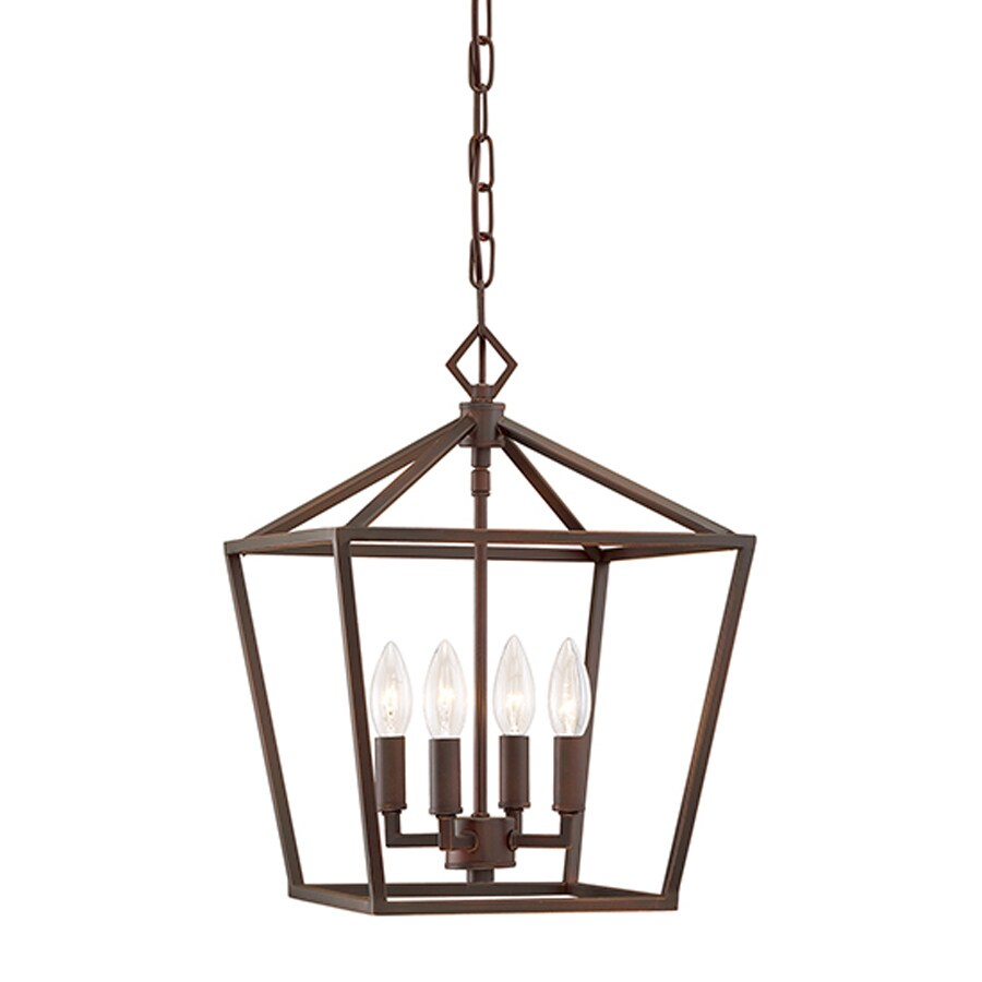 Millennium Lighting 12-in Rubbed Bronze Vintage Single Cage Pendant