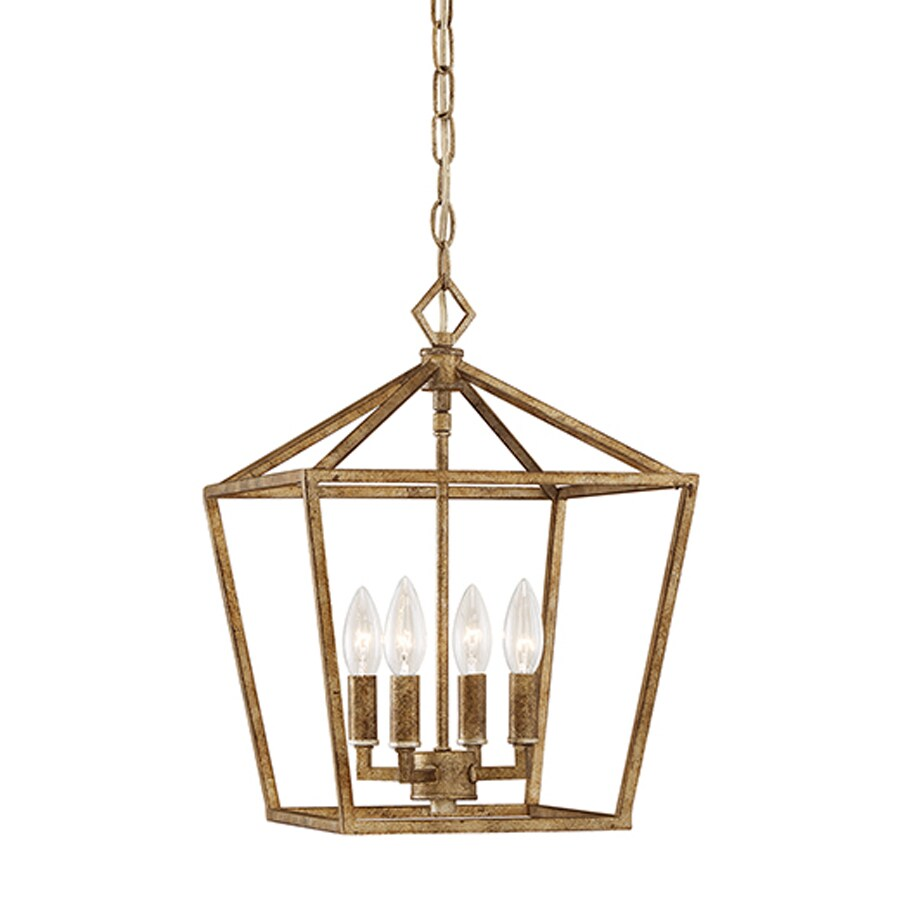 Millennium Lighting 12-in Vintage Gold Vintage Single Cage Pendant