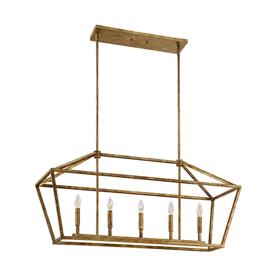 Lighting 40 in W 5 Light Vintage Gold Kitchen Island Light at Lowes