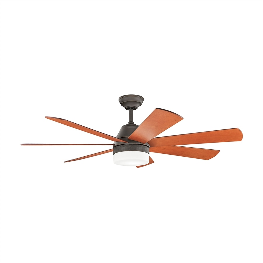 Kichler Lighting Ellys 56-in Olde Bronze Downrod Mount Indoor Ceiling Fan with LED Light Kit and Remote (7-Blade)