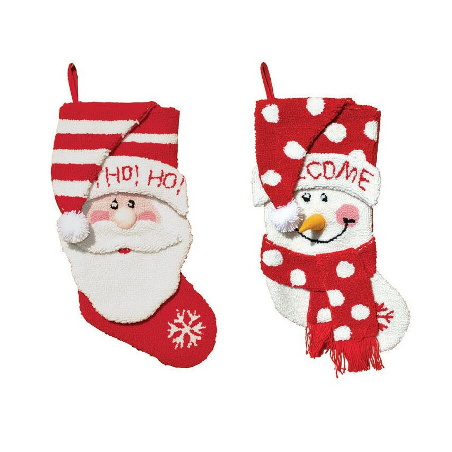 Santa's Workshop 2-Piece Santa and Snowman 18.5-in Red/White Christmas Stocking Set