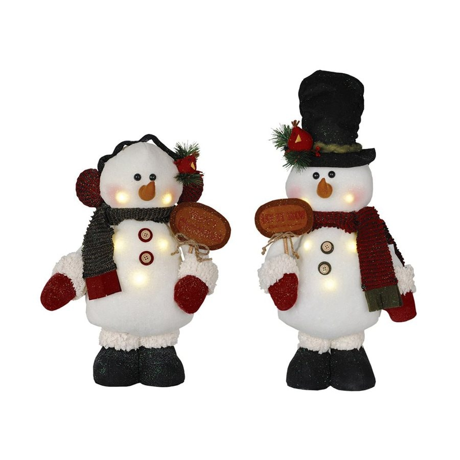 Santa's Workshop Snowman with Sign Merry Christmas Polyester Tabletop Figurines with LED Lights