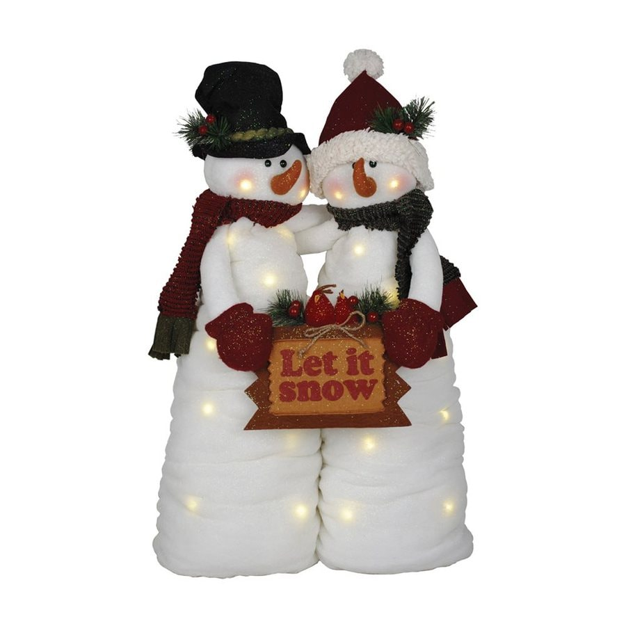 Santa's Workshop Snowman Couple Animated Musical Let It Snow Polyester Tabletop Figurine with LED Lights