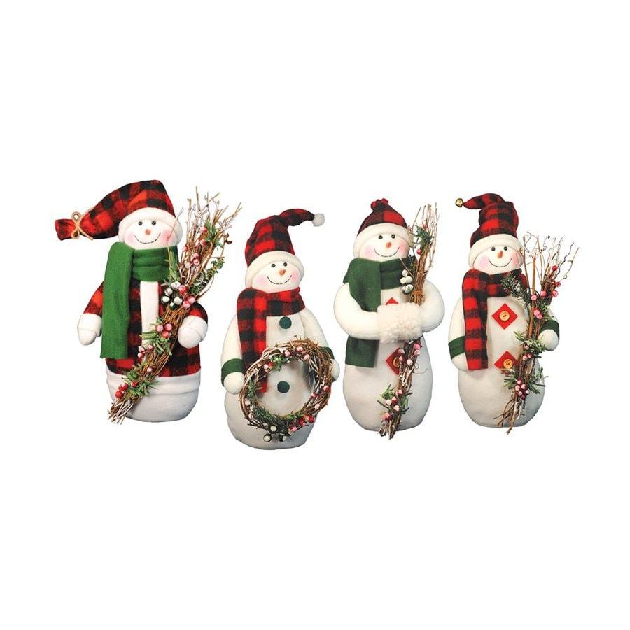 Santa's Workshop Plaid Snowmen Polyester Tabletop Figurines