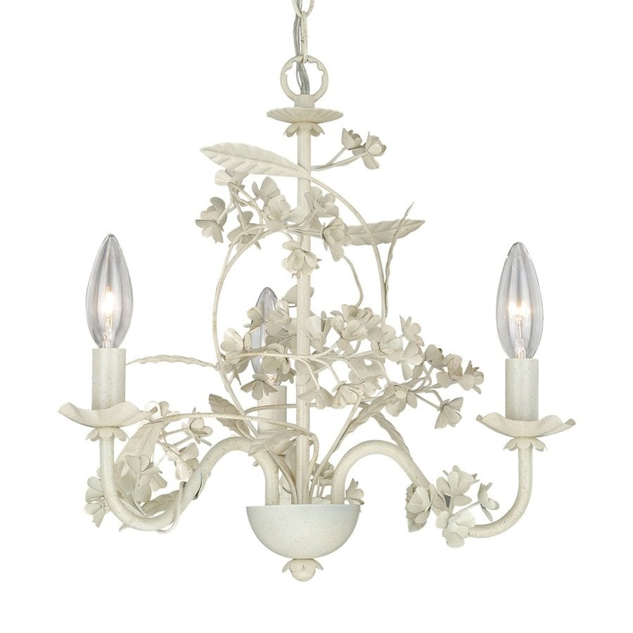 Cascadia Lighting Leilani 15.5-in 3-Light Antique White Vintage Candle Chandelier
