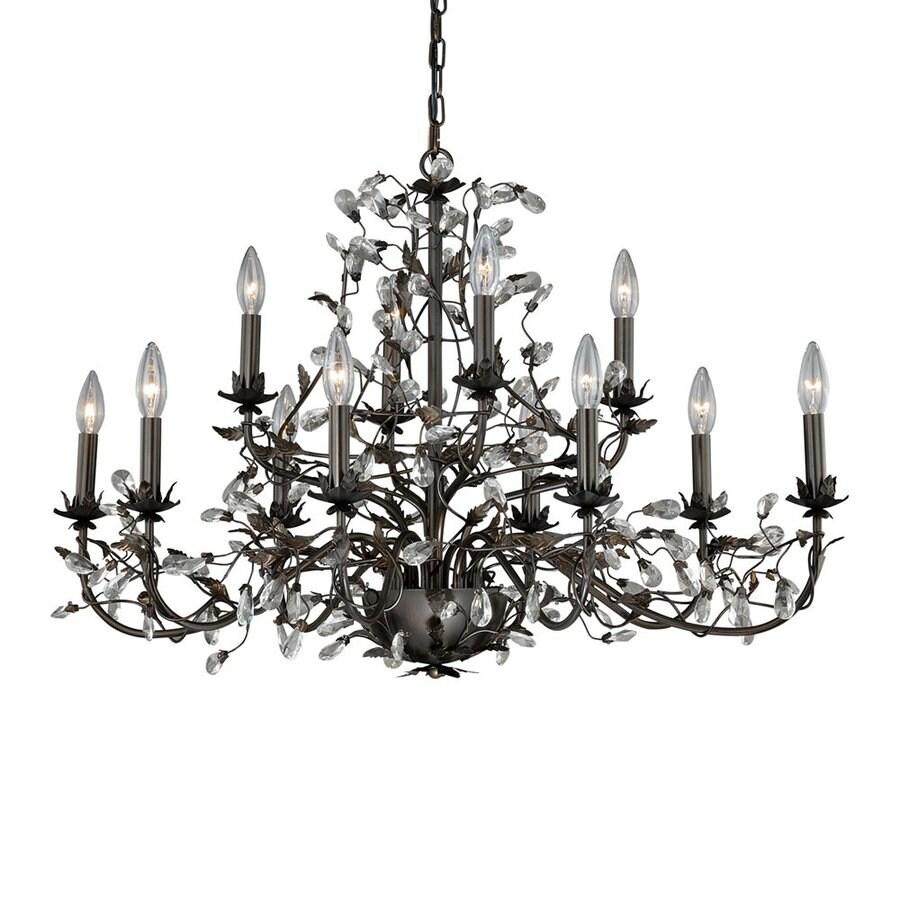 Cascadia Lighting Trellis 35.5-in 12-Light Architectural Bronze Vintage Candle Chandelier