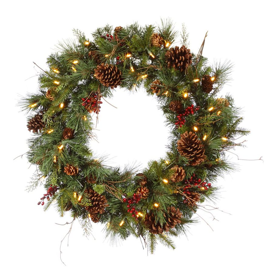 Christmas Central Cibola Mix Berry 30-in Pre-Lit Indoor Pine Artificial Christmas Wreath with Warm White LED Lights